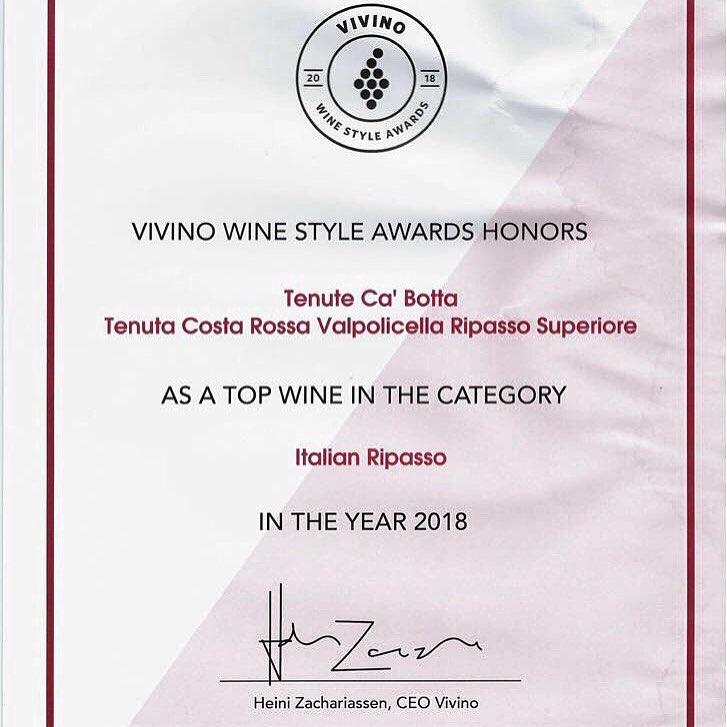 Приложение Vivino признал наше Costa Rossa лучшим итальянским рипассо 2018